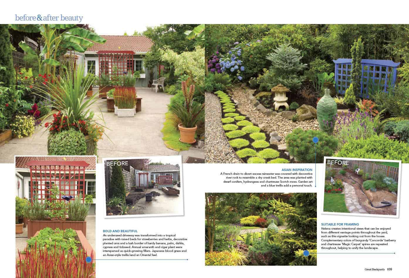 Press & Publications - 4 Season Gardens on garden with sculptures, garden with arches, garden with birdbath, garden with pots, garden with potted plants,